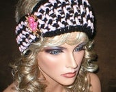 40% OFF SALE Crochet Womens Fall Winter Vintage Style Reproduction Pink Rhinestones Floral Brooch Head Wrap Turban Ear Warmer