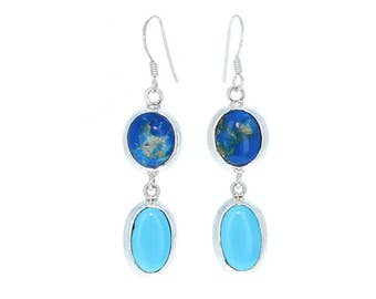Sleeping Beauty Turquoise and Ceruleite Earrings Sterling NewWorldGems
