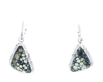 NEW LANDER TURQUOISE Earrings Sterling Free Form #2 NewWorldGems