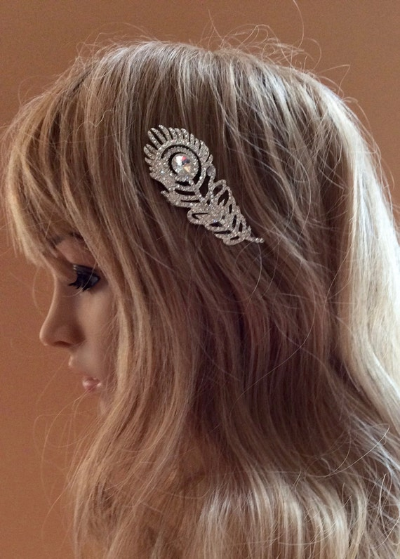 Rhinestone  Peacock Comb, Bridal Wedding Comb,   Bridal Peacock Hairpiece,   Rhinestone  Bridesmaids Comb