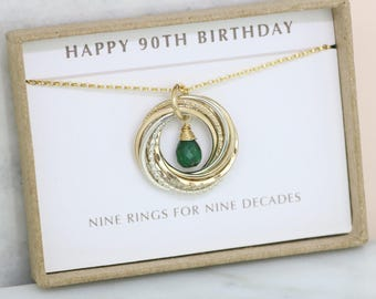 90th birthday gift for mother, emerald necklace, May birthstone jewelry, May birthday gift - Lilia