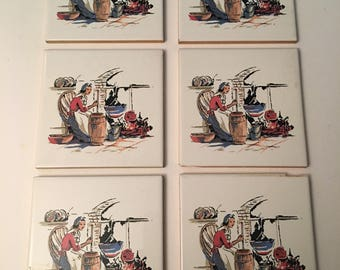Colonial Woman Churn Tiles Made in Spain 6 Tiles