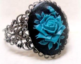 Wiccan Jewelry Gothic Rose Cuff Bracelet Victorian Jewelry Gothic Jewelry Art Nouveau Jewelry Steampunk Renaissance Victorian Bracelet