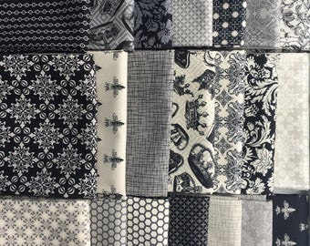 Queen Bee from RJR Fabrics - 21 Fat Quarter Bundle Black, Cream, Gray, Taupe Bees, Crowns, Florals