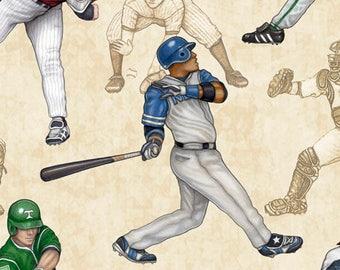 Grand Slam from Quilting Treasures - Full or Half Yard Baseball Players on Tan