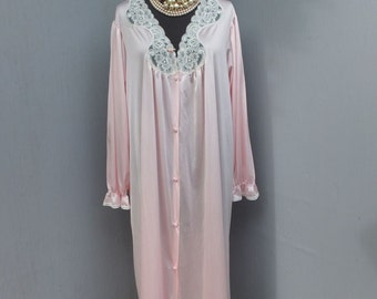 Vintage Vanity Fair Robe, Pink Robe, Nylon and Lace Robe, Ultra Feminine, Pretty Pastel Pink, Size (M)