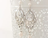 Long Bridal Chandelier Earrings Chandelier Wedding Earrings Crystal and Pearl Earrings Vintage Style Jewelry Crystal Statement Post Earrings