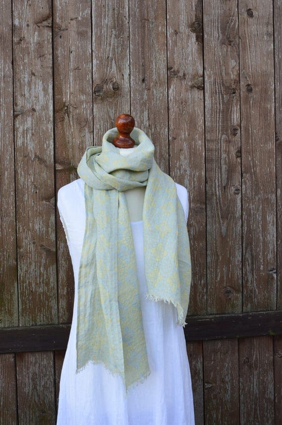 Light blue yellow linen scarf, spring summer scarf, mens linen scarves, womens scarf