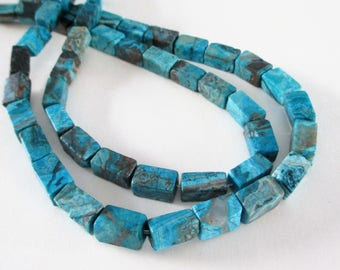"""Ocean Jasper Beads - Cube Nugget Beads - 3D Blue Turquoise Rectangle - Smooth Large Center Drilled Gemstone - 16"""" Strand -  DIY Craft Beads"""