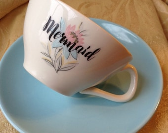 Mermaid Altered Tea Cup and Saucer