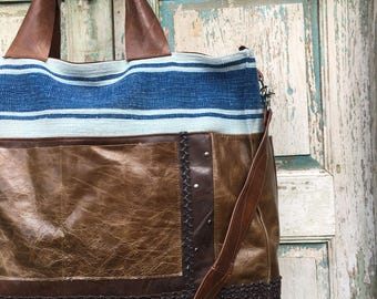 Handmade Brown Italian Leather Weekender Bag, Diaper Bag, Work Bag,  with vintage Dhurri Rug and Vintage Textiles
