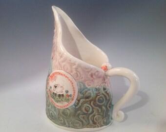 Pottery pitcher/pitcher/sheep/small pitcher/creamer/coffe creamer/pottery creamer/handmade creamer/lambs/I love sheep/sheep art
