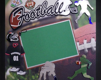 TIME FOR FOOTBALL Premade Memory Album Page (Gallery Wood Frame Sold Separately)