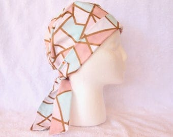 Surgical Scrub Hat for women, Scrub cap, Surgical Scrub Cap - Tie Back Hat, Pink, Turquoise and Gold Geometric