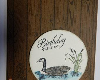 Handmade Birthday Goose/Wood background Card