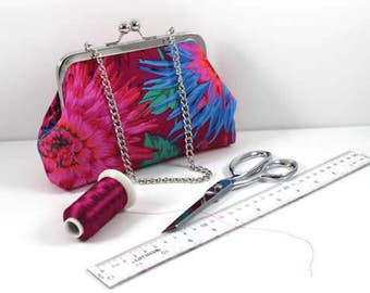 Rich Vibrant Clutch in Hues of Blue, Pinks, Orange with Chain, Essentials, Wallet, Keys and Phone, Evening bag, Cosmetic bag Casual Day Bag