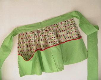 Vintage Cotton Print Apron,red green, midcentury print, retro, handmade