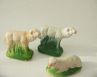 Vintage Plaster Lambs, Sheep, crèche, manger, Christmas