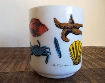 Vintage France Sea Creatures Milkglass Coffee Cup by R. Carmen