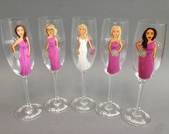 Hand Painted Personalized Bridesmaid gift glasses for Bridal Party and Bride