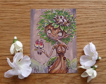 PRINT ACEO - Dryad and birds