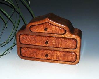 Wood Jewelry Box - Pagoda Style in Mahogany With Redwood Burl - Handmade Jewelry Box- Wooden Jewelry Box, Small Wood Jewelry Box, Wooden Box