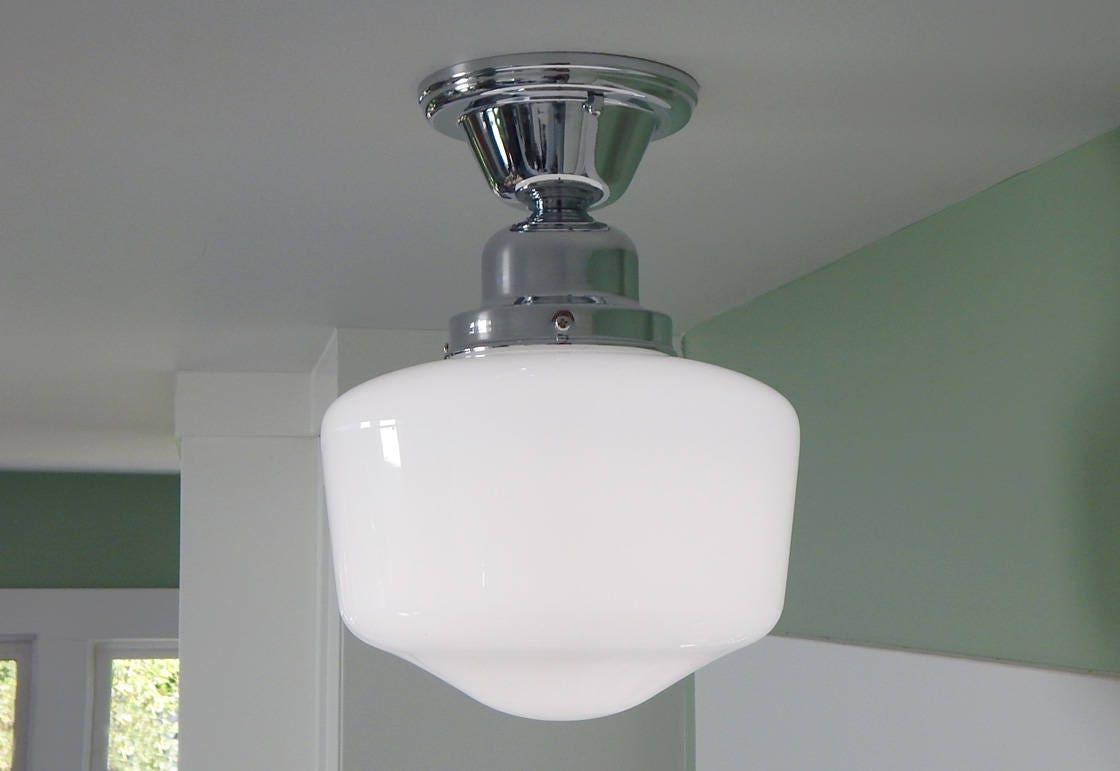 semi flush schoolhouse ceiling light vintage opal glass shade. Black Bedroom Furniture Sets. Home Design Ideas