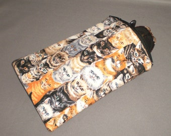 Cat - Eyeglass or Sunglasses Case - Zipper Top -Padded Zippered Pouch - Kitties - Siamese - Tabby - Calico