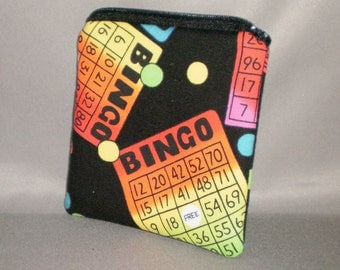 Coin Purse - Gift Card Holder - Card Case -Small Padded Zippered Pouch - Mini Wallet - Bingo