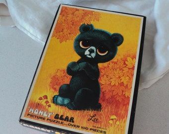 Vintage BIG EYES Puzzle 1970s Honey Bear by Lee Big Eye Sad Eye Puzzle by Built Rite COMPLETE