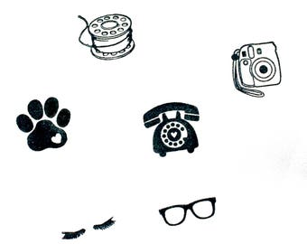 Stamp cuties - mini peg stamps -paw print, bobbin, instax camera rotatry telephone, eyelashes, glasses - for planners, letters, crafting