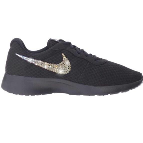 Bling Nike Tanjun Shoes with Swarovski Crystals  All  Black