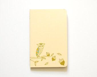 Gold Owl Notebook, Small Gift, Pocket Journal, Bird Illustration, Woodland, Idea Notebook, Pastel Yellow, Hand Drawn, OOAK