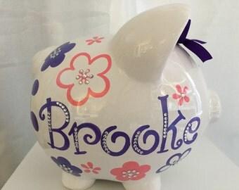 Personalized Large Rose Pink / Purple  flowers Piggy  Bank Newborns , Birthday Flower Girl,Baby Shower Gift Centerpiece