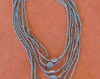 Multi strand turquoise glass beads bib necklace