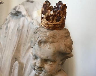 Aged black patina painted metal crown-queen crown-fairy, crown-religious-small crown-filigree crown-lace crown,cherub crown,statue