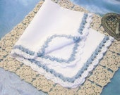 Blue Lace Handkerchief, Hankie, Hanky, Hand Crochet, Something Blue, Bridal, Personalized, Monogrammed, Bridal Keepsake, Ready to ship