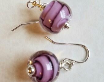 Purple Swirl Lampwork Earrings Sterling Silver