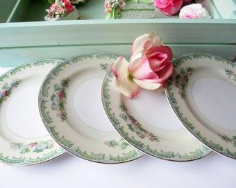 Vintage Bread Butter Dessert Plates Meito Green Pink Set of Four