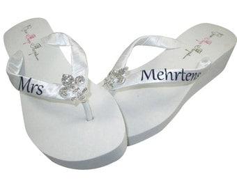 Fleur de Lis Personalized Wedding flip flops - design your Rhinestonesandals-mrs last name bride-blue or ivory wedge white bling heel