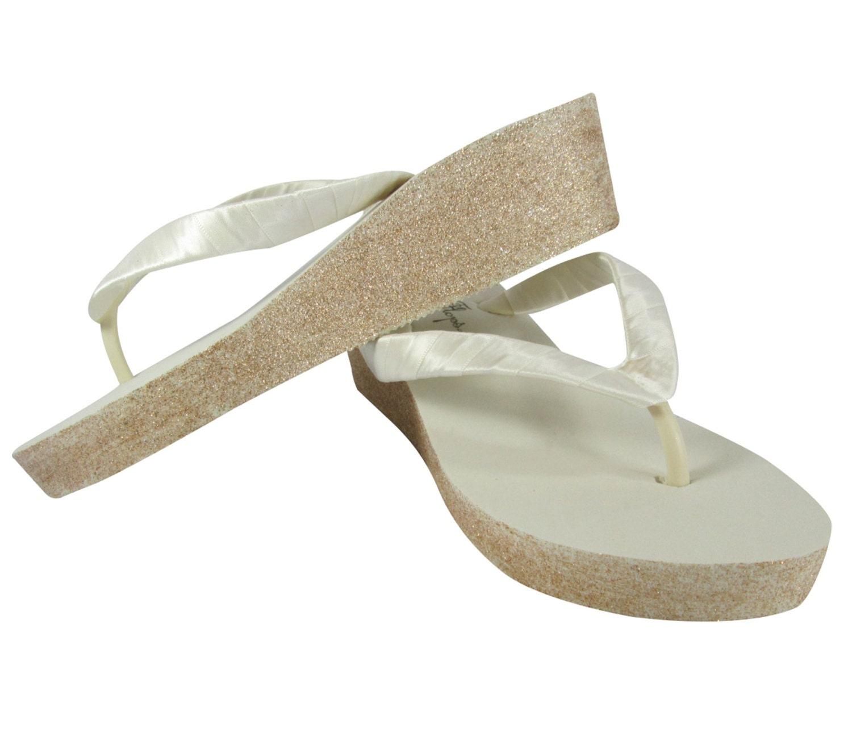 ivory champagne sparkle bridal flip flops with wedge platform. Black Bedroom Furniture Sets. Home Design Ideas