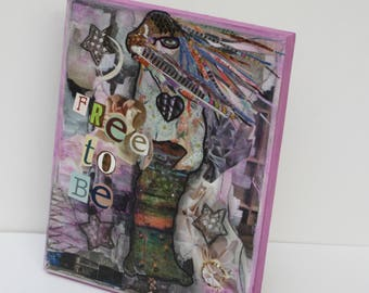MIXED MEDIA Collage ART  Free To Be