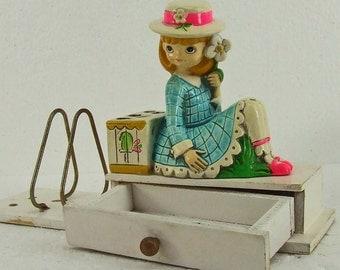 Vintage Retro Kitsch Earl Bernard Young Girl Figurine Letter Holder Bird Cage Pencil Holder Little Drawer