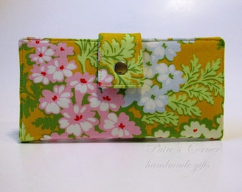 Handmade women wallet - Gold yellow clutch with pink and white flowers - Ready to ship - cotton purse - Gift ideas for her