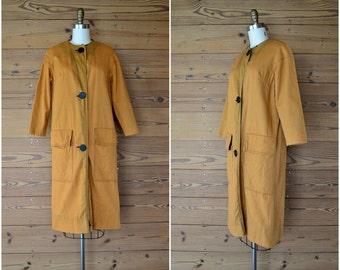 1960s canvas cotton rust coat / button up tan orange jacket / minimalist wabi sabi / small medium