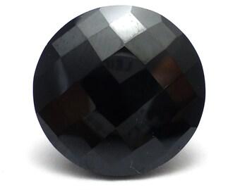 Black Spinel 16mm Round Checker Cut Loose Gemstone Large Engagement Ring Stone Handmade Black Gothic Goth Unique Unusual Rare
