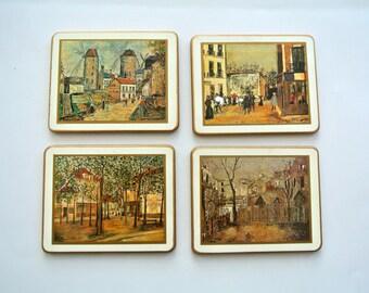 Set of FOUR (4) Lady Clare Coasters-European City Scenes-Cork Back