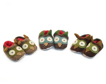 Cate and Levi Handmade Soft Owl Baby Slippers (Premium Reclaimed Wool and Eco-Friendly Fleece)