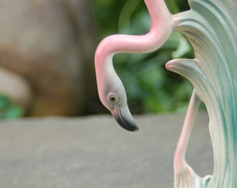 "1940's / 50's Brad Keeler Classic head down signed Porcelain California Pink Flamingo 8 1/4"" tall Figurine # 31 ~ Second of 2"