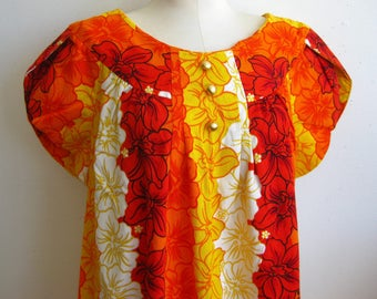 Vintage 60s Pacific Isle Hawaiian Hibiscus Orchid Print Orange Barkcloth Tiki Luau Summer Dress